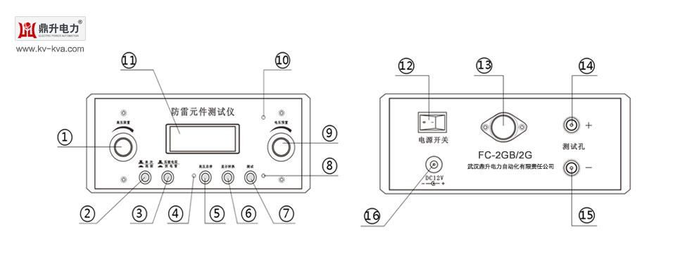 单次/连续 3.压敏电阻/放电管 4.高压指示灯 5.高压启停键 6.