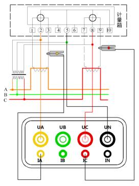 三相用电检查仪三相三线接线示意图